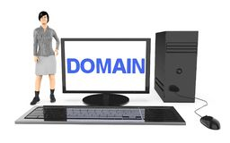3d Charakter, Frau, die nahe zu einem Computer steht, wenn der Gebietstext im Bildschirm angezeigt ist Lizenzfreie Stockbilder