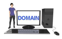3d Charakter, Frau, die nahe zu einem Computer steht, wenn der Gebietstext im Bildschirm angezeigt ist Lizenzfreie Stockfotos