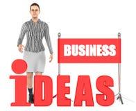 3d Charakter, Frau, Geschäftsideen simsen Lizenzfreie Abbildung