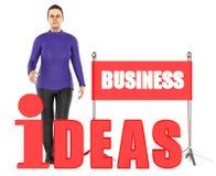 3d Charakter, Frau, Geschäftsideen simsen Vektor Abbildung