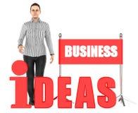 3d Charakter, Frau, Geschäftsideen simsen Stock Abbildung