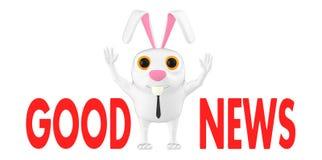 3d Charakter, Kaninchen, gute Nachrichten stock abbildung