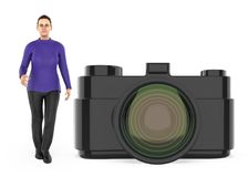 3d charakter, kobieta i kamera, ilustracja wektor
