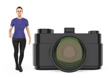 3d charakter, kobieta i kamera, ilustracji