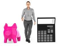 3d charakter, kobieta, prosiątko bank i kalkulator, royalty ilustracja