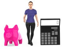 3d charakter, kobieta, prosiątko bank i kalkulator, ilustracja wektor