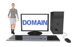 3d charakter, kobieta stoi blisko komputer z domena tekstem wystawiającym w monitoru ekranie, ilustracja wektor