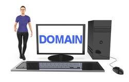 3d charakter, kobieta stoi blisko komputer z domena tekstem wystawiającym w monitoru ekranie, ilustracji