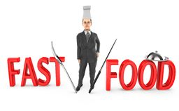3d charakter, kobieta szef kuchni - fast food royalty ilustracja