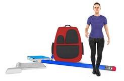 3d charakter, kobieta, szkolna torba, ołówek, książki, notepad i gumka na ziemi, ilustracji