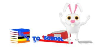 3d charakter, królik rasing ręki uczy kogoś toreb książki szkoły pojęcie guma - notepad na podłoga, z powrotem - ołówek - ilustracji