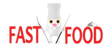 3d charakter, królika szef kuchni - fast food ilustracji