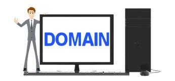 3d charakter, mężczyzna andcomputer z domena tekstem wystawiającym w monitoru ekranie, royalty ilustracja