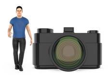 3d charakter, mężczyzna i kamera, ilustracji