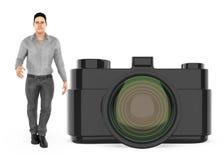 3d charakter, mężczyzna i kamera, royalty ilustracja