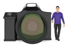 3d charakter, mężczyzna i kamera, Ilustracja Wektor