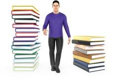 3d charakter, mężczyzna i stos książki, ilustracji