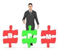 3d charakter, mężczyzna i trzy one trzyma each wyrzynarkę z, listowym abecadło b, p i m w nim, - bpm pojęcie ilustracji