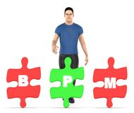 3d charakter, mężczyzna i trzy one trzyma each wyrzynarkę z, listowym abecadło b, p i m w nim, - bpm pojęcie ilustracja wektor
