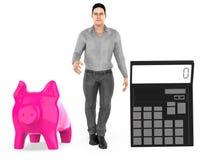 3d charakter, mężczyzna, prosiątko bank i kalkulator, royalty ilustracja