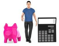 3d charakter, mężczyzna, prosiątko bank i kalkulator, ilustracja wektor