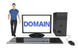 3d charakter, mężczyzna stoi blisko komputer z domena tekstem wystawiającym w monitoru ekranie, royalty ilustracja
