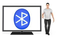 3d Charakter, Mann, der ein Fernsehen mit bluetooth Zeichen gezeigt im Schirm darstellt lizenzfreie abbildung