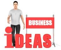 3d Charakter, Mann, Geschäftsideen simsen Vektor Abbildung