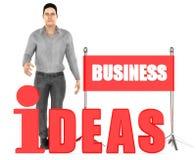 3d Charakter, Mann, Geschäftsideen simsen Stock Abbildung