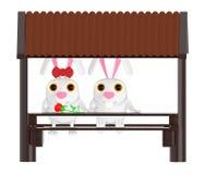 3d charakter, para, królik samiec i kobiety obsiadanie w jacie z kafelkowymi dachami, Ilustracja Wektor