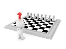3D charakter patrzeje szachową deskę, próbuje obliczać out ruch Obrazy Royalty Free