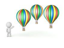 3D charakter Pokazuje Kilka gorące powietrze balony Zdjęcie Royalty Free