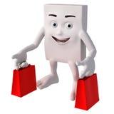 3d charakter z torba na zakupy Fotografia Royalty Free