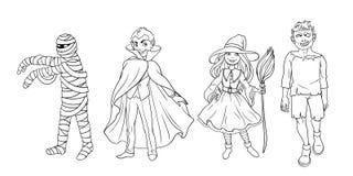 3d charaktery tworzyli cyfrowo cztery Halloween wizerunek Obraz Royalty Free