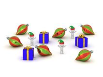 3D Charcters with Elf Hats, Gifts, and Globes Royalty Free Stock Photos