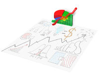 3D chart with business doodles on paper Royalty Free Stock Photo