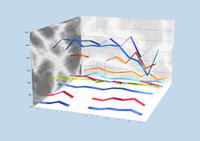 3D chart with colorful flats. And electrical discharge patterns on the walls Royalty Free Stock Image