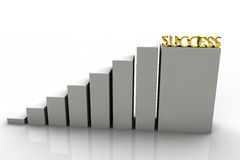 3D chart with gold success in the last step royalty free stock image