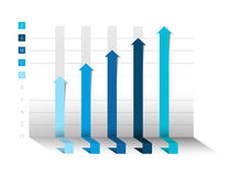 3D chart, graph. Blue color. Infographics business elements. Royalty Free Stock Photos