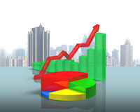 3D chart on green glass table Stock Photography