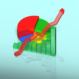 3D chart with growing arrow on table Royalty Free Stock Photography