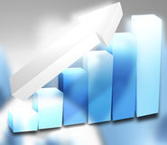 3d chart light blue Stock Photo