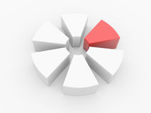 3d chart. Pie chart divided into parts with the release of one of the parts. 3d Stock Photo