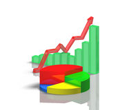 3D chart with reflection on table Stock Photography