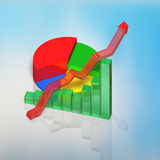 3D chart with sky reflection on table. 3D chart with sky reflection on glass table Stock Photo