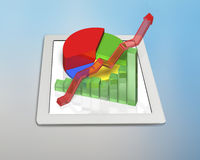 3D chart on tablet Stock Photo