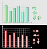 3D chart templates for marketing, sales or business presentation Royalty Free Stock Image