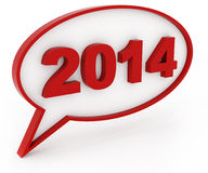 2014 3d chat box. 2014 - 3d chat box and text Royalty Free Stock Image