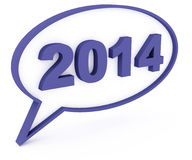 2014 3d chat box. 2014 - 3d chat box and text Royalty Free Stock Images