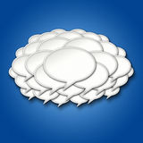 3d Chat Bubbles Storm Cloud on Blue Background Stock Photography